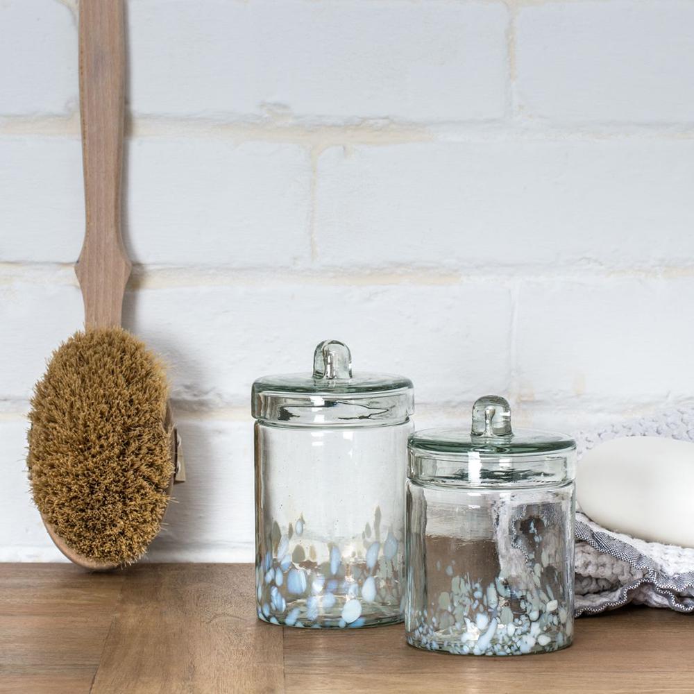 Medium Glass Bathroom Storage Jar Kooky Green